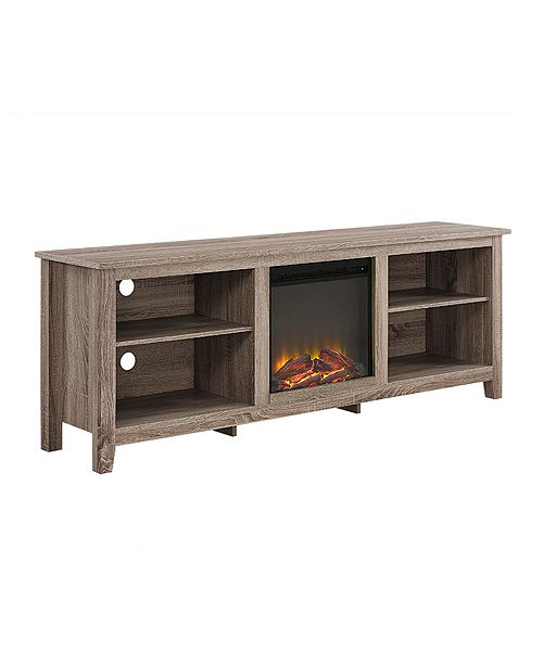 Walker Edison 70 Wood Media Tv Stand Console With Fireplace
