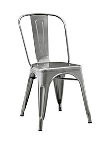 Stackable Metal Café Bistro Chair - Gun Metal Silver