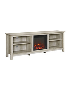 "70"" Wood Media TV Stand Console with Fireplace - White Oak"