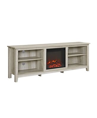 Walker Edison 70 Wood Media Tv Stand Console With Fireplace White
