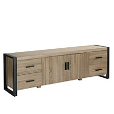 "70"" Wood Media TV Stand Storage Console- Driftwood"