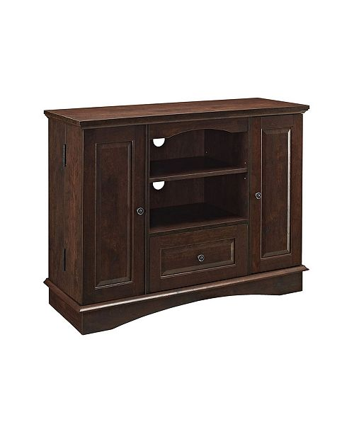 "Walker Edison 42"" 3-Door Traditional Highboy Wood TV Stand Media Console"