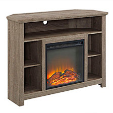 "44"" Transitional Wood Corner Highboy Fireplace TV Stand - Driftwood"