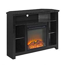 "44"" Wood Corner Highboy Fireplace TV Stand - Black"