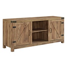 "58"" Farmhouse TV Stand with Barn Door Side Doors - Barnwood"
