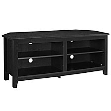 "58"" Transitional Wood Corner TV Stand Storage Console - Black"