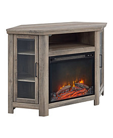 "48"" Wood Corner Fireplace Media  TV Stand Console  - Grey Wash"