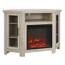 "48"" Classic Traditional Wood Corner Fireplace Media TV Stand Console - White Oak"