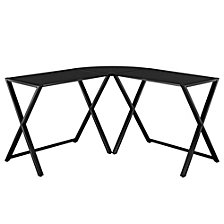 "Home Office 51"" L-Shaped Corner Computer Desk - Black"