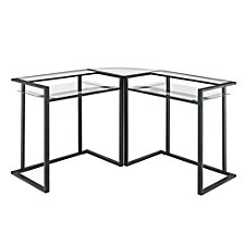 "20"" Industrial Metal and Wood Side Table with Open Shelf"