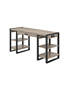 "Home Office 60"" Wood Storage Computer Desk - Driftwood"
