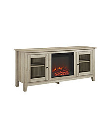 "58"" Wood Media TV Stand Console with Fireplace - White Oak"