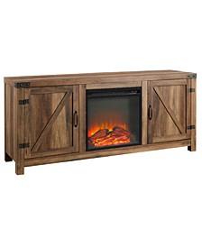 """58"""" Barn Door Fireplace TV Stand - Rustic Oak"""