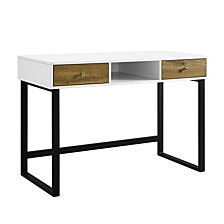 "44"" Modern Two-Tone Desk With Drawers- White/Barnwood"