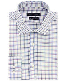 Tommy Hilfiger Men's Fitted TH Flex Collar Stretch Purple Check Dress Shirt