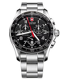 Victorinox Swiss Army Men's Chronograph Classic XLS Stainless Steel Bracelet Watch 45mm 241443