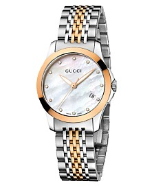 Gucci Women's Swiss G-Timeless Two Tone Stainless Steel Bracelet Watch 27mm YA126514