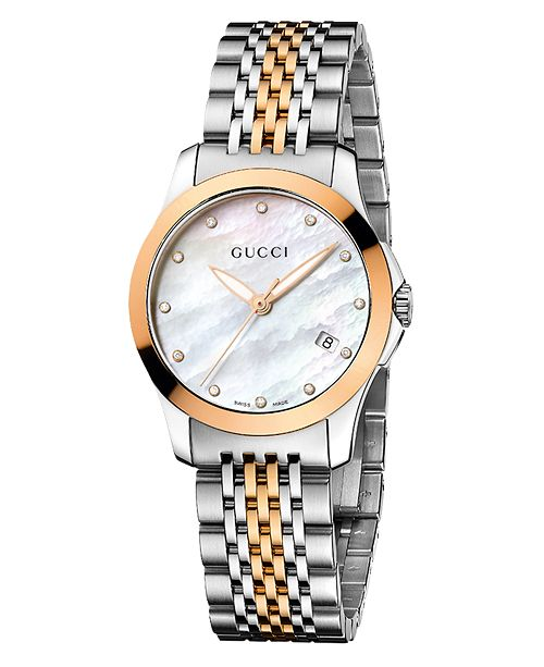 825e2d55e81 ... Gucci Women s Swiss G-Timeless Two Tone Stainless Steel Bracelet Watch  27mm YA126514 ...