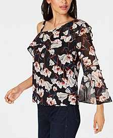 I.N.C. Printed Floral Asymmetric Blouse, Created for Macy's