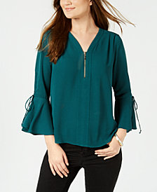 NY Collection Petite Zipper-Neck Bell-Sleeve Top