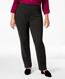Charter Club Plus Size Cambridge Ponté Pull-On Pants, Created for Macy's