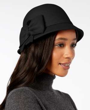 Women's Vintage Hats | Old Fashioned Hats | Retro Hats I.n.c. Bow Wool-Felt Cloche Created for Macys $23.10 AT vintagedancer.com