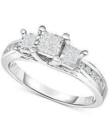 TruMiracle® Diamond Three-Stone Ring (1/2 ct. t.w.) in 14k White Gold