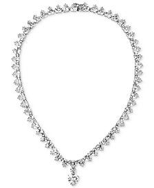 "Tiara Cubic Zirconia Heart 16-3/4"" Statement Necklace in Sterling Silver"