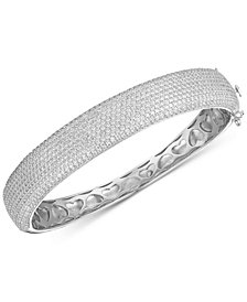 Tiara Cubic Zirconia Pavé Statement Bangle Bracelet in Sterling Silver