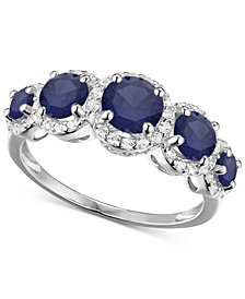 Simulated Sapphire and Cubic Zirconia Ring in Sterling Silver