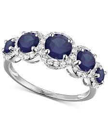 Simulated Sapphire Ring in Sterling Silver