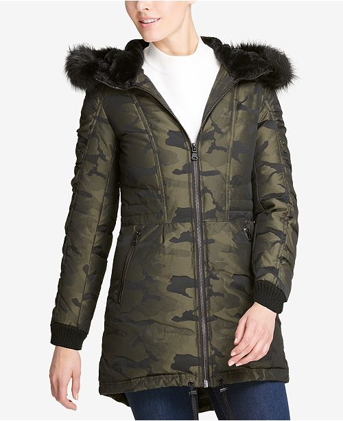 f8093173b1440 DKNY Faux-Fur-Trim Camo-Print Parka, Created for Macy's & Reviews ...