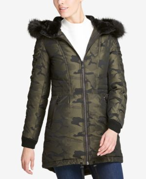 DKNY Faux-Fur-Trim Camo-Print Parka, Created For Macy'S in Green
