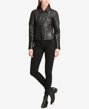 DKNY Leather Jacket With Quilted Shoulder in Black