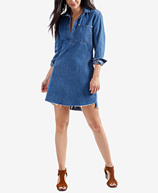 Lucky Brand Cotton Denim Frayed-Hem Shirtdress