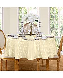 "Elrene Denley Stripe Ivory 70"" Round Tablecloth"