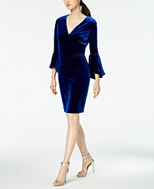 Calvin Klein Flare-Sleeve Velvet Sheath Dress