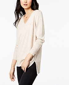 Cotton V-Neck Tunic Sweater, Created for Macy's
