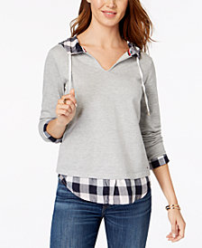 Tommy Hilfiger Plaid-Trim Layered-Look Sweatshirt, Created for Macy's
