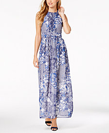 Nine West Floral Printed Keyhole Maxi Dress