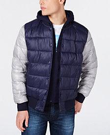 GUESS Men's Baseball Snap-Front Puffer Jacket