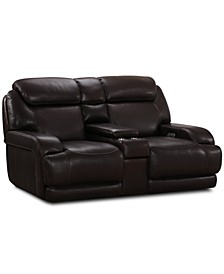"""Daventry 97"""" 3-Pc. Leather Sectional Sofa With 2 Power Recliners, Power Headrests, Console And USB Power Outlet"""