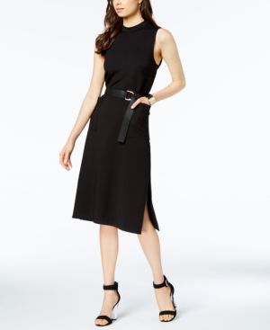 AVEC LES FILLES Sleeveless Belted Sheath Dress in Black