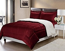 Ultimate Luxury Reversible Micromink and Sherpa King Bedding Comforter Set