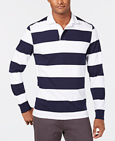Club Room Men's Even Striped Rugby Shirt, Created for Macy's