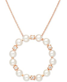 "Cultured Freshwater Pearl (5mm) & White Topaz (1/2 ct. t.w.) Circle 18"" Pendant Necklace in 18k Rose Gold-Plated Sterling Silver"