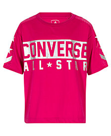 Converse Big Girls Mesh-Trim Graphic-Print Top