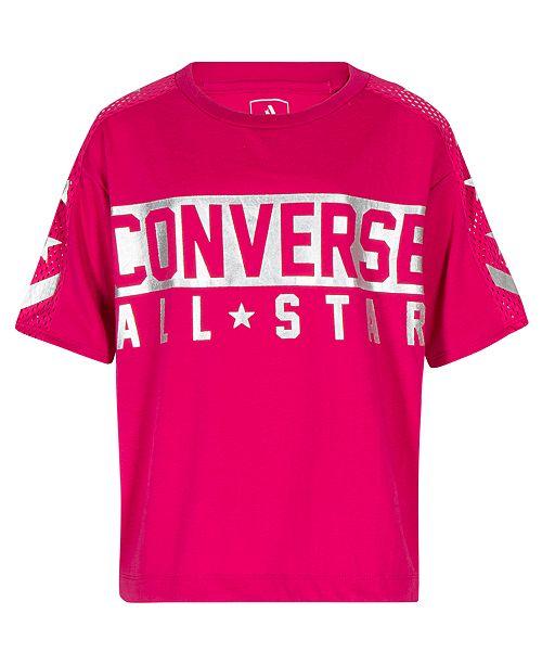 56a4d2fa7f Converse Big Girls Mesh-Trim Graphic-Print Top - Shirts   Tees ...