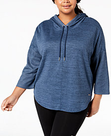 Calvin Klein Performance Plus Size Cowl-Neck Curved-Hem Hoodie