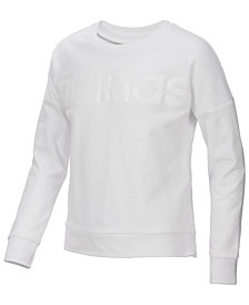 adidas Big Girls Logo-Print Cropped Cotton Sweatshirt